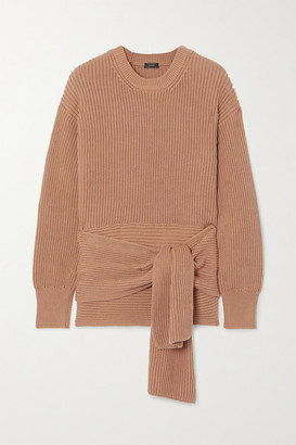 Joseph Cote Anglaise Tie-detailed Ribbed Cotton Sweater - Brown