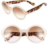 Kate Spade Women's 'Khriss' 52Mm Round Sunglasses - Black/ Silver Glitter