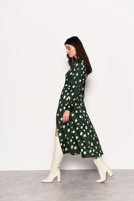 Glamorous Womens **Green Abstract Spot Print Midi Dress By Green
