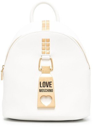 Love Moschino Logo Plaque Leather Backpack