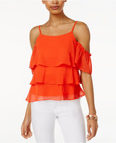 Amy Byer Juniors' Tiered Cold-Shoulder Top