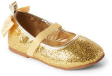 stepping stones (Kids Girls) Gold Glitter Bow Flats