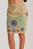 Plenty by Tracy Reese Embroidered Slim Skirt in Palamino Multi