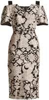 Roland Mouret Awalton cut-out shoulder floral fil-coupé dress