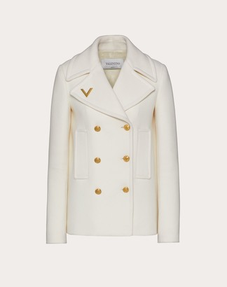 Valentino Drill Drap Peacoat With Gold V Detail Women Ivory Wool 100% 44