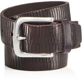 John Varvatos Laser-Scored Strap Belt with Harness Buckle