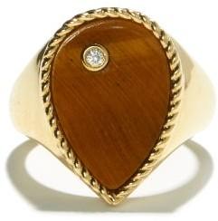 Yvonne Léon Diamond, Tiger's Eye & 9kt Gold Signet Ring - Yellow Gold