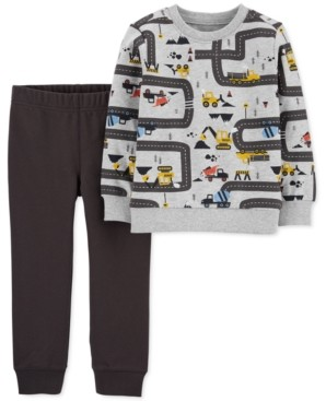 Carter's Baby Boys 2-Pc. Cotton Construction-Print Top & Jogger Pants Set