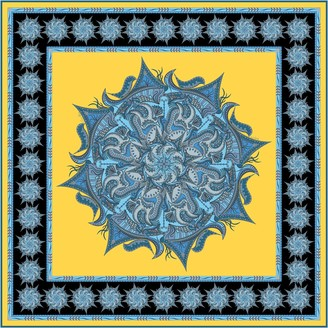 Gisy Water Mandala Square Silk Scarf