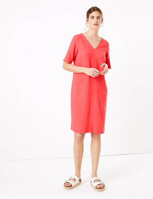Marks and Spencer Linen V-Neck Midi Shift Dress