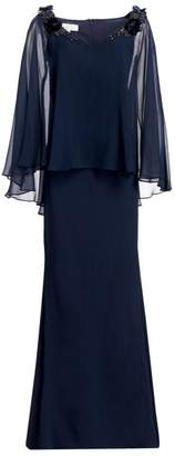 Teri Jon By Rickie Freeman Embellished Silk Chiffon Cape Sleeve & Crepe Gown