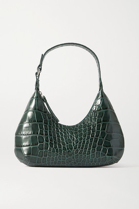 BY FAR Amber Baby Croc-effect Leather Tote - Dark green