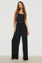 boohoo Iman Pin Tuck Soft Tailored Wide Leg Trousers black