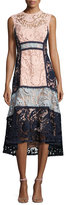 Nanette Lepore Sleeveless Colorblock Lace Midi Dress, Pink/Blue