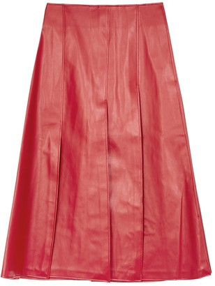 A.W.A.K.E. Mode Red faux leather midi skirt