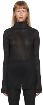 Jil Sander Black Pleated Turtleneck
