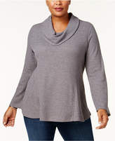 Style&Co. Style & Co Plus Size Metallic-Knit Cowl-Neck Top, Created for Macy's