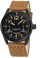 Stuhrling Original Men's 'Aviator' Quartz Stainless Steel and Leather Casual Watch, Color:Beige (Model: 448.03)