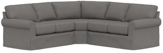 Pottery Barn Buchanan Roll Arm Slipcovered 3-Piece L-Sectional with Wedge