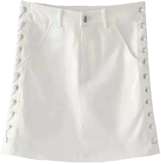 Goodnight Macaroon 'Kennedy' Laced Up Side Mini Denim Skirt (3 Colors)