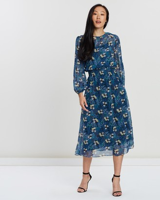 Faye Black Label - Women's Blue Party Dresses - Floral Shirred Dress - Size One Size, 8 at The Iconic