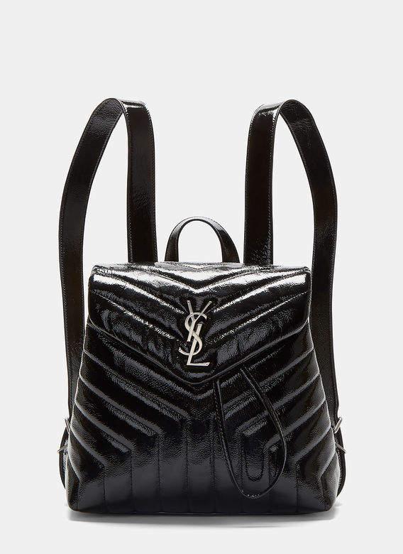Saint Laurent Small Lou Monogram Matelassé Patent Backpack in Black