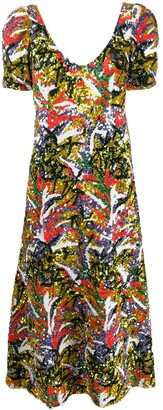 La DoubleJ Party Tropical-pattern sequinned dress