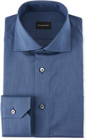 Ermenegildo Zegna Men's Solid Twill Dress Shirt, Dark Blue