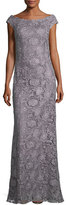 La Femme Bateau-Neck Cap-Sleeve Lace Evening Gown