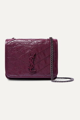 Saint Laurent Niki Mini Quilted Crinkled-leather Shoulder Bag - Burgundy