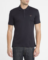 Armani Jeans Navy Zip Neck Chest Logo Slim-Fit Polo Shirt