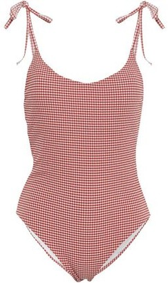 Onia Bow-detailed Gingham Seersucker Swimsuit
