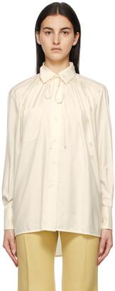 Victoria Beckham Off-White Silk Neck Tie Shirt