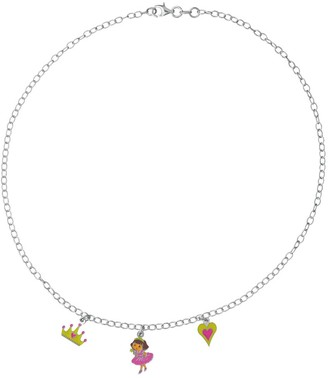 Dora the Explorer 3170966 Children's Sterling Silver Necklace with Princess/Heart/Crown Design: 925/1.000 Silver 4.1 g 40 cm