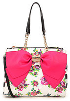 Betsey Johnson Welcome to The Big Bow Floral Satchel