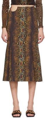 Versace Brown Python Print Skirt