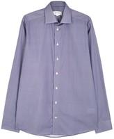Eton Navy Slim Micro Medallion-print Cotton Shirt