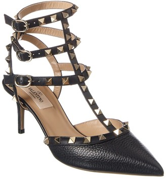 Valentino Rockstud Caged 65 Grainy Leather Ankle Strap Pump