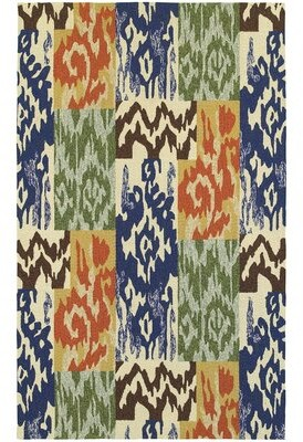 "Tommy Bahama Atrium Ikat Handmade Flatweave Blue/Green/Orange Indoor/Outdoor Area Rug Home Rug Size: Runner 2'6"" x 8'"
