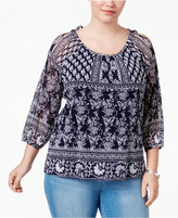 INC International Concepts Plus Size Cold-Shoulder Peasant Top, Only at Macy's