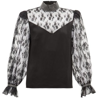 Christopher Kane Crystal-embellished Lace And Satin Blouse - Black
