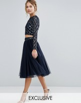 Lace And Beads Lace & Beads Tulle Skirt With Embellished Waist Co Ord