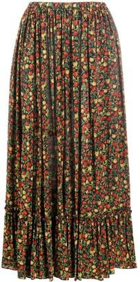 Gucci Floral Ruffle Hem Skirt