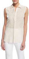 Cushnie et Ochs Devore Sleeveless Button-Front Floral Top, Blush