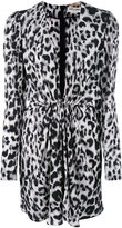Saint Laurent long sleeve plunge dress - women - Silk - 38