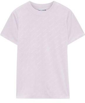 DKNY Logo-debossed Stretch-velour T-shirt