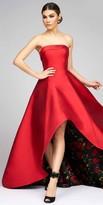 Mac Duggal Peek-A-Boo Floral Strapless Evening Gown