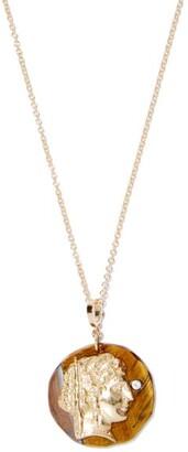 Azlee Goddess Diamond & 18kt Gold Pendant Necklace - Brown Gold