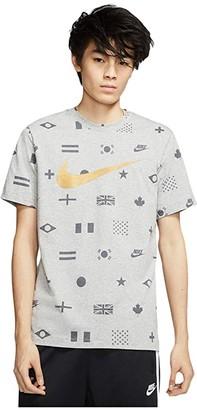 Nike NSW Tee Preheat All Over Print (Dark Grey Heather) Men's Clothing
