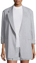 DKNY Long-Sleeve Oversized Linen-Blend Jacket, Cement